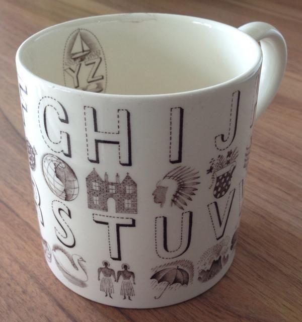 Iconic Eric Ravilious mug with font via @pentopapershop