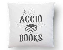 Accio books quote pillow cover-Potter quote pillow case-custom pillow-Harry Potter throw pillow-harry potter home decor-NATURA PICTA NPCP002