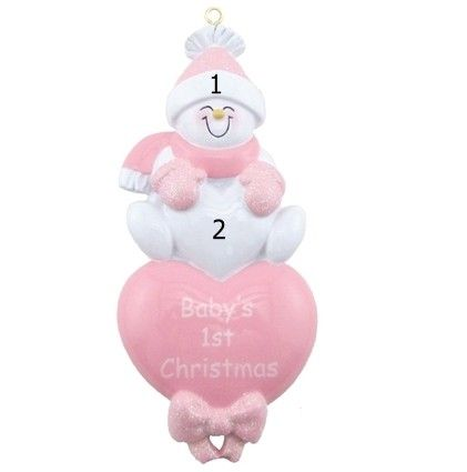 Baby Girl Ornament Pink Snowman Hearts