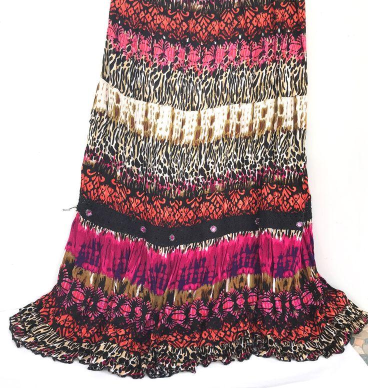Forbidden Magenta Womens Long Ruffled Full Skirt Medium See Measurements #Forbidden #FullSkirt #ClubWear