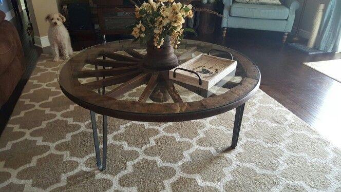 Teak wagon wheel coffee table