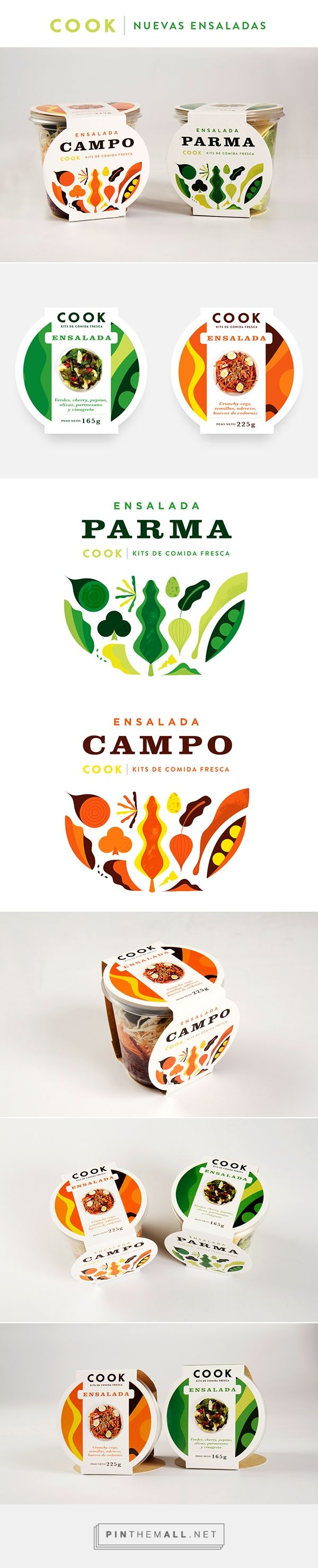 COOK ENSALADAS on Behance  photo+illustration in colourful packaging