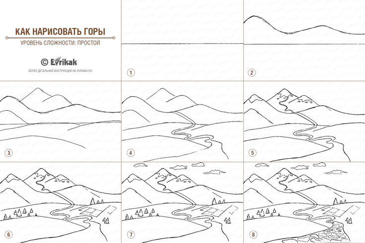 Пейзаж гор нарисованный карандашом поэтапно