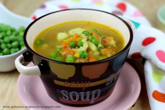 Qchenne-Inspiracje! Odchudzanie, dietoterapia, leczenie dietą: Zupa jarzynowa z zielonym groszkiem. Pyszna, aromatyczna, wyrazista. Dla dzieci i dorosłych.