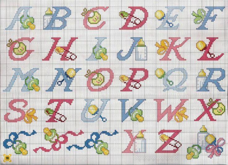 16 mani di fata 26 mongia baby for Lettere a punto croce schemi