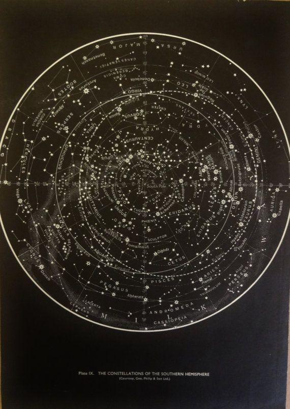 1950s Original Stars & Constellations Maps Hemispheres Vintage Astronomy Astrology Prints