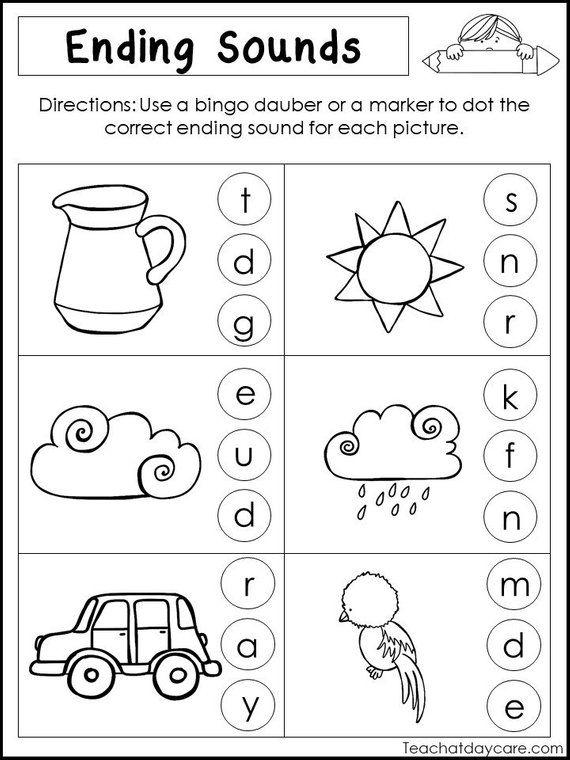 10 Printable Ending Sounds Worksheets Preschool 1st Grade Etsy Kindergarten Literacy Worksheets Literacy Worksheets Kindergarten Literacy