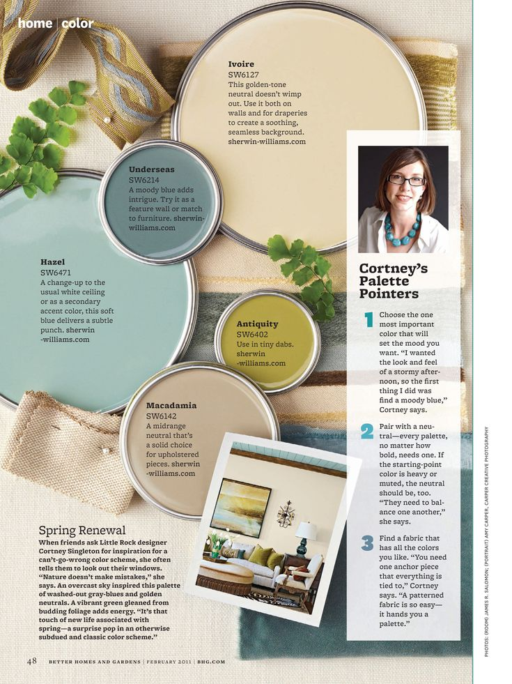 Better Homes and Gardens - February 2011 - Page 48-49 / love this color palette! Antiquity for bathroom accent wall?