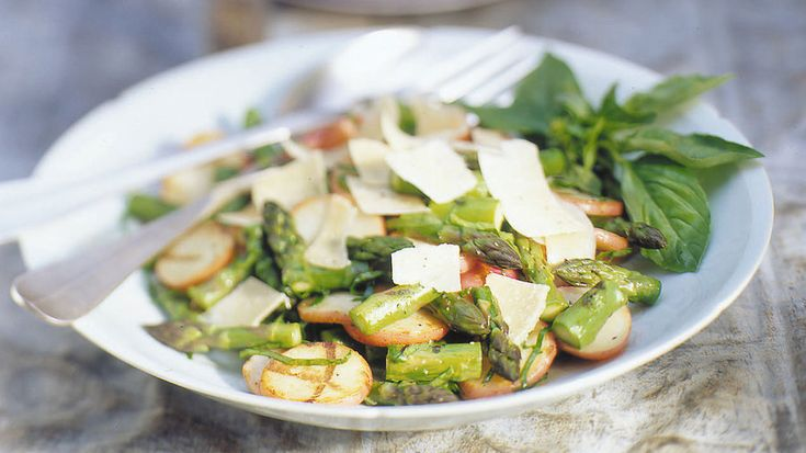 Grilled Potatoes and Asparagus with Basil and Parmesan | These veggie dishes can be the sleeper hit of any barbecue