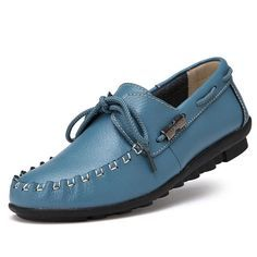 Women Flat Shoes Casual Outdoor Breathable Leather Soft Lace Up Loafers