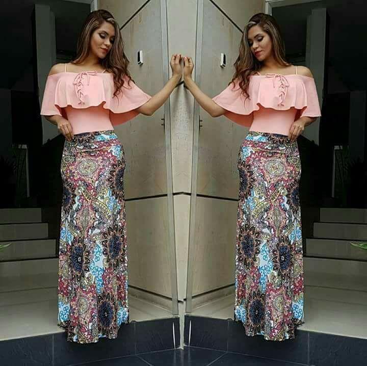 falda larga con blusa campesina