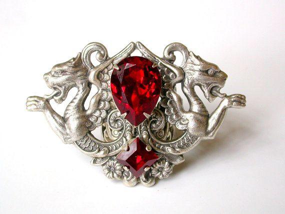 Gothic Statement Ring - Red Swarovski Ring - Women Fantasy Dragon Gothic Jewelry
