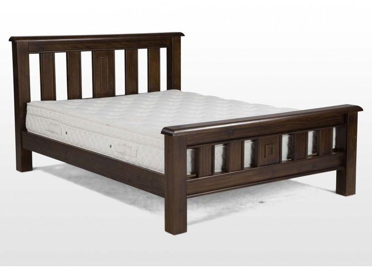 double 4 ft dark wood bed frame valentia - Bed Wood Frame