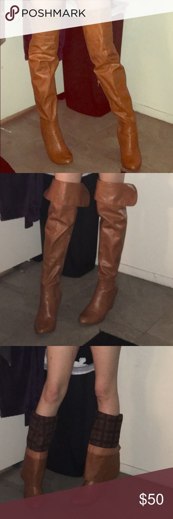 Brown thigh high/or knee high/ or calf high boots Very comfortable & versatile size 81/2 can fit a 9.. as well they run bigger (: Shoes Over the Knee Boots