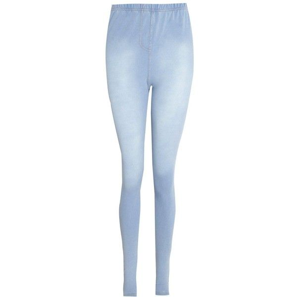 Boohoo Bella Stone Wash Denim Look Jeggings ($16) ❤ liked on Polyvore featuring pants, leggings, blue pants, wide leg palazzo pants, jean leggings, denim palazzo pants and wide leg denim pants