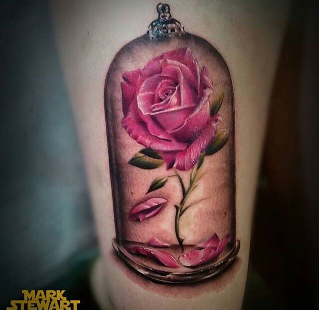 Beauty and the Beast is by far my favorite disney movie. Want this as a tattoo but with a few tweaks.