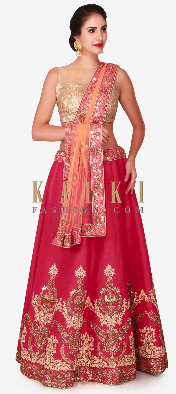 Buy Online from the link below. We ship worldwide (Free Shipping over US$100)  Click Anywhere to Tag Cherry red lehenga in raw silk embellished in zardosi and sequin embroidery work only on Kalki This cherry red lehenga is full of surprises, opt this as your morning wedding outfit. The lehenga is featured in raw silk and is beautifully adorn in zardosi and scattered sequin embroidery work that is sure to get you noticed. The ready stitched blouse is decorated using frenchknots and is…
