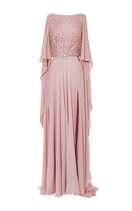 Blush V-Neck Embroidered Gown by Elie Saab - Moda Operandi