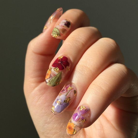 Reusable Pressed Dried Flowers Press On Nails Clear Base Gold Flake Clear Gel Nails Flower Nails Best Nail Art Designs