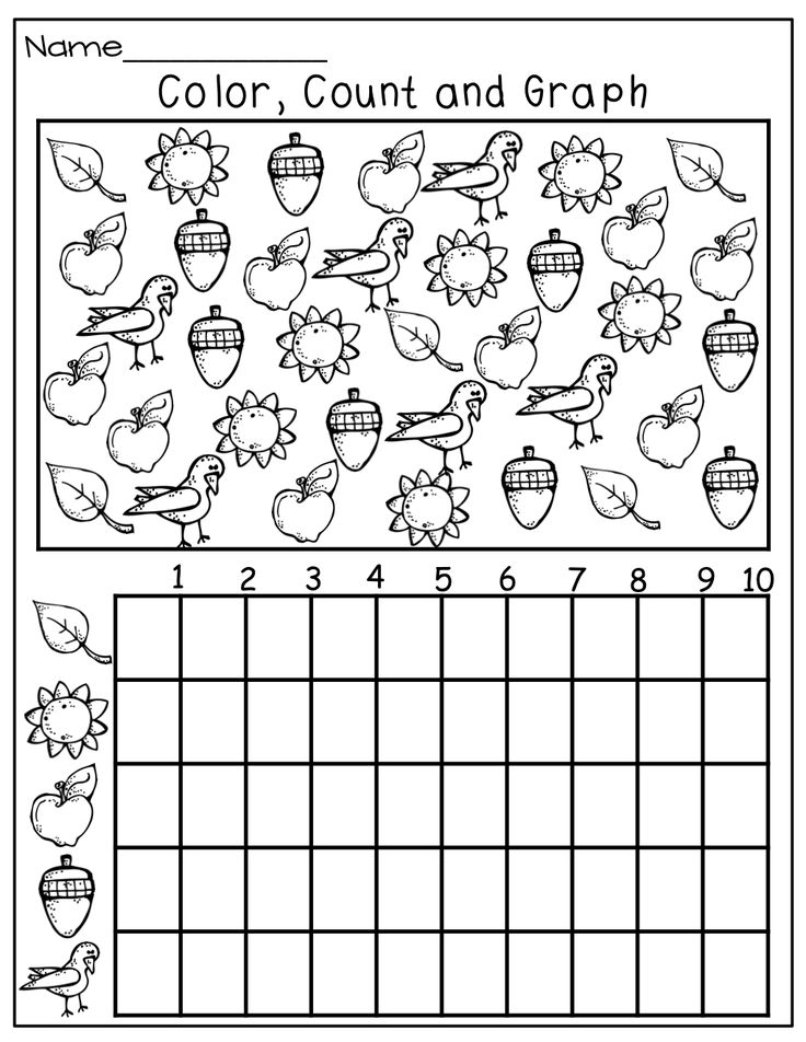 Color, count and graph! preschool homework page