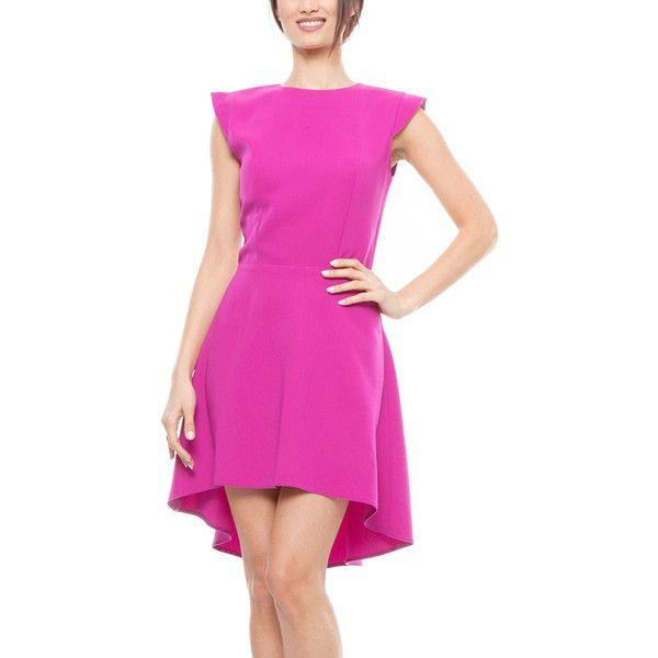 Lisa Moretti Fuchsia Cap-Sleeve Hi-Low Dress ($47) ❤ liked on Polyvore featuring dresses