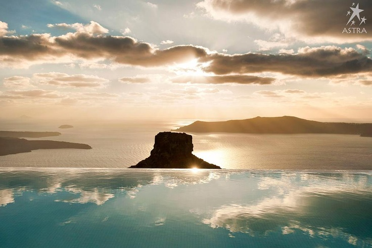 Enjoy the unique sunset view from Astra Suites in the romantic setting of Santorini!