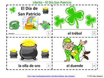 Spanish St. Patrick's Day 2 Booklets - El Dia de San Patricio - One with text and illustrations, the other with text only so students can sketch and create their own versions.