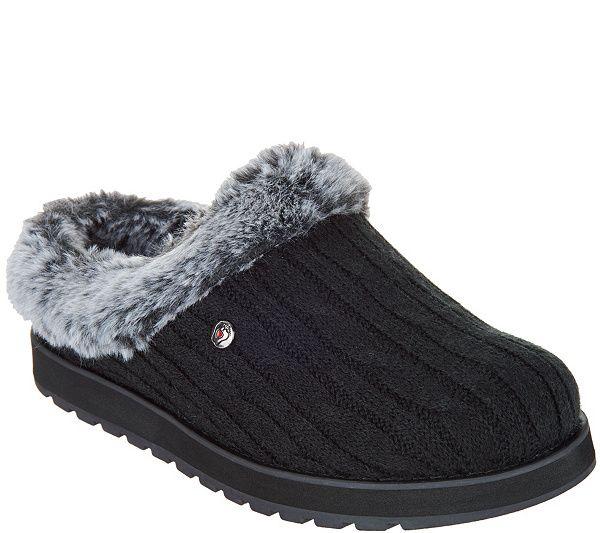 Skechers Sweater Knit Faux Fur Slippers
