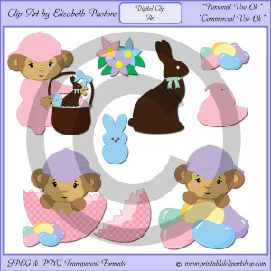 Easter Monkey Clip Art: Easter Monkey, Clipart, Clip Art, Monkey Clip, Easter Eggs, Easter Baskets, Art Consistency, Chocolates Bunnies, Ducks Peeps