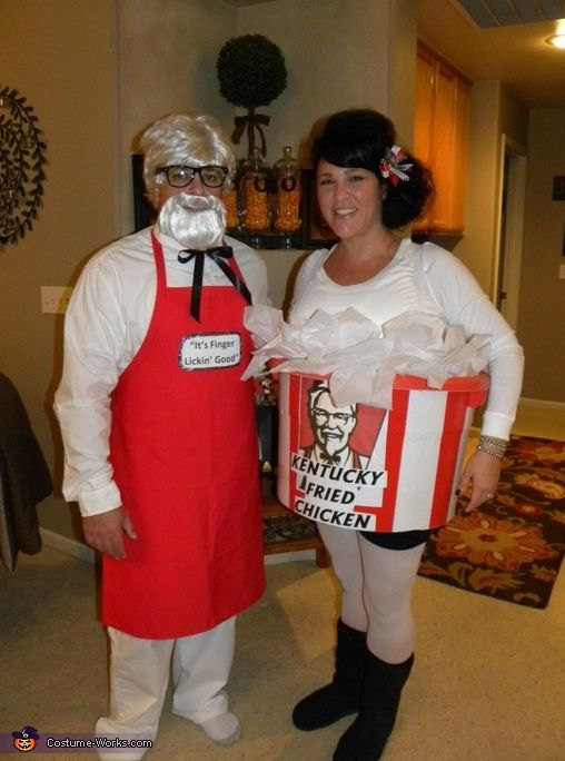 colonel sanders and his bucket of chicken diy halloween costume - Funniest Diy Halloween Costumes