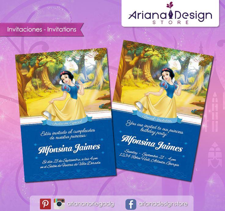 #printable #invitation #disneyprincess #snowwhite #blancanieves #arianadesignstore #invitacion #fiestainfantil #cumpleaños