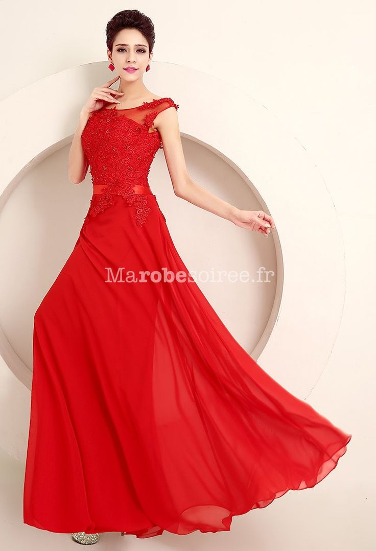 Robe de cocktail rouge longue