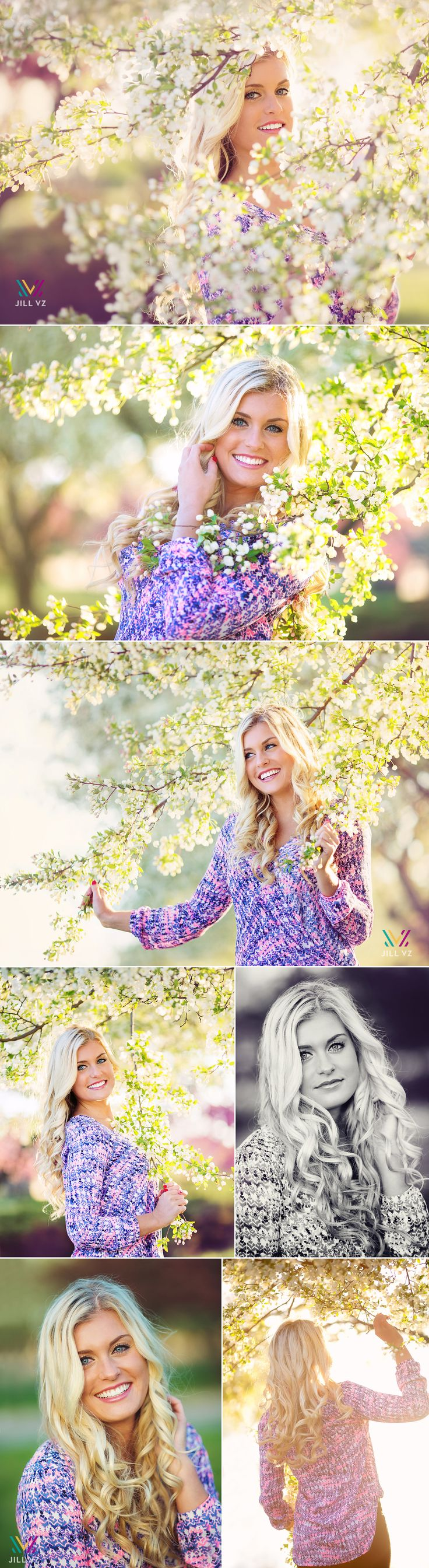 white spring tree flowers des moines senior photography
