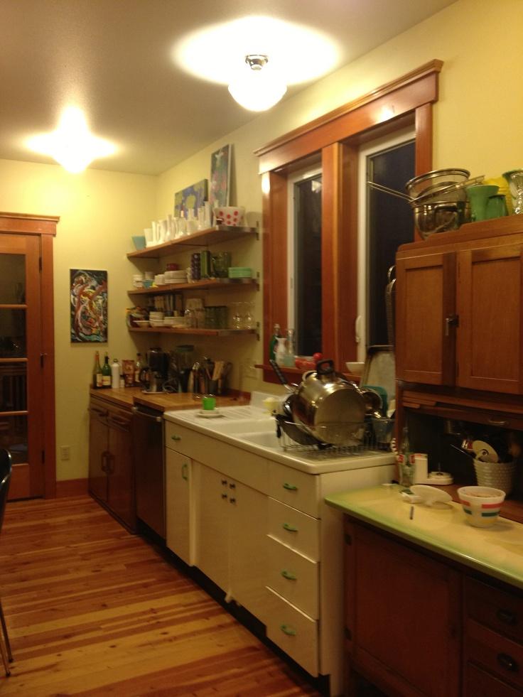 The kitchen 1930s Danish hutch 1950s metal sink cabinet