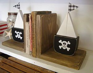 Pirate Boat Bookends - children's room accessories Perfect for a pirate themed nursery!