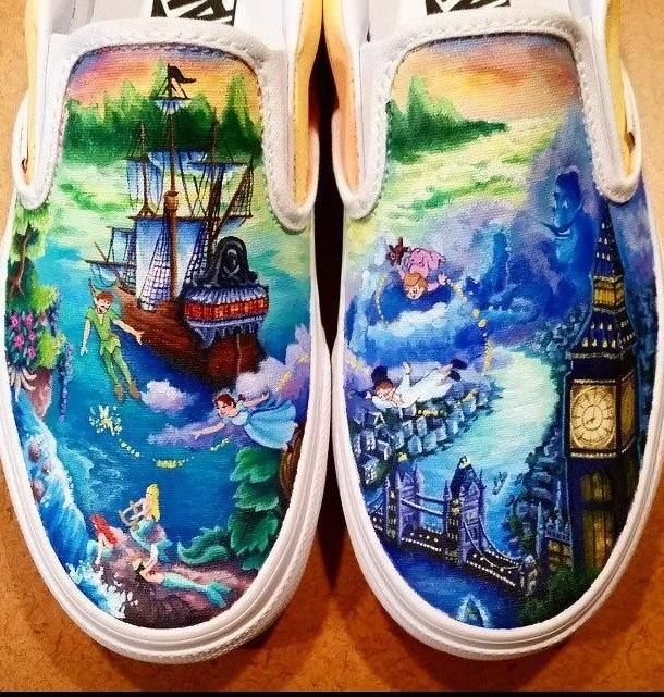 Omg how did you do that I want those  Don't you love these hand painted Disney Shoes?
