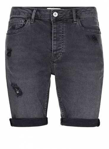 Prezzi e Sconti: #Dark grey ripped stretch skinny denim shorts misure Uk 28 eu 38 uk 30 eu 40  ad Euro 44.00 in #Topman #Clothing mens shorts