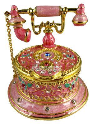 Pink Telephone Crystals Jewellery Jewelry Trinket Box | eBay