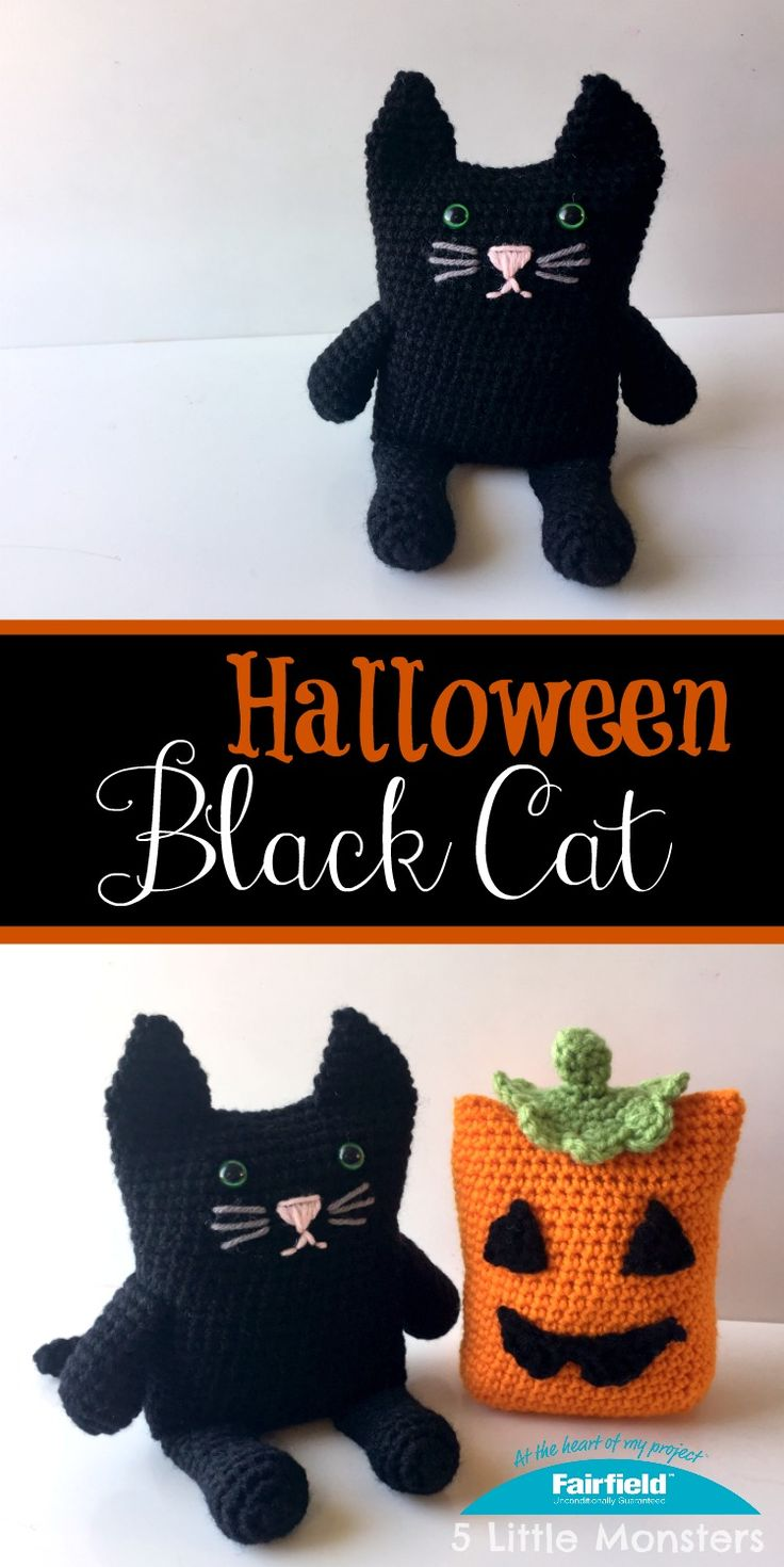 5 little monsters black cat halloween decoration