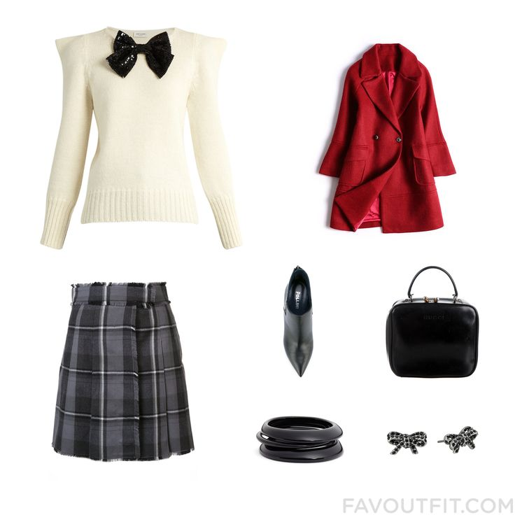 Wardrobe Collage Featuring Yves Saint Laurent Sweater Long Wool Coat Thom Browne Skirt And Leather Ankle Boots From January 2017 #outfit #look