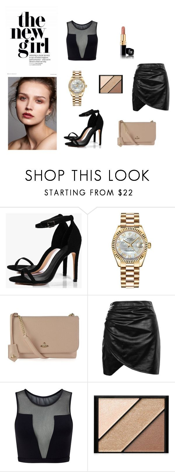 """dinner time"" by carlacorucho on Polyvore featuring Boohoo, Rolex, Vivienne Westwood, Varley and Elizabeth Arden"