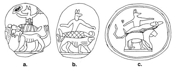Figure 8. Illustrations of Anubis embalming, on the obverse of 2nd-3rd c. CE gems now in: (a) University College, London; (b-c) Paris, Bibliothèque Nationale.