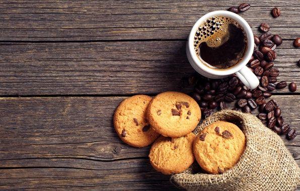 Обои кофе, зерна, чашка, печенье, шоколад картинки на рабочий стол, раздел еда - скачать