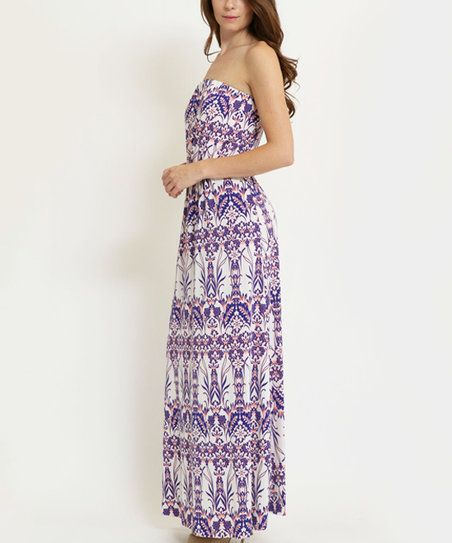 funkitribe Purple Abstract Strapless Maxi Dress | zulily