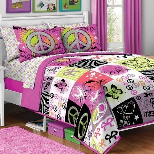 5pc Girl Pink Yellow Purple Black Heart Love Peace Sign Butterfly Zebra Twin Comforter Set (5pc Bed in a Bag) by Kids Bedding. $89.99. Comforter & Sham are 100% Polyester. Comforter reverses from print to solid.. Adorable Coordinating Peace Sign Sheet Set. 5pc Twin Set includes ONE Twin Comforter ONE Pillow Sham, ONE Flat Sheet, ONE Fitted Sheet and ONE Pillowcase.