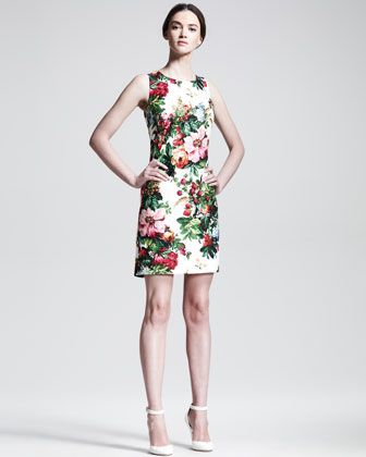 Fall 2013 The Floral Print Trend: Sleeveless Floral-Print Shift Dress by Dolce & Gabbana