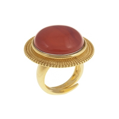 Ring in gold plated sterling silver with red quartz