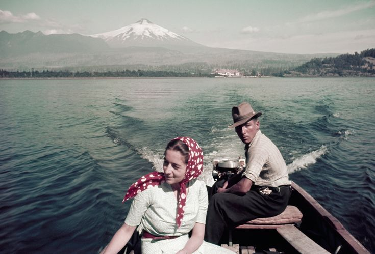 A couple rides in a motorboat on Lake Villarrica in Chile, July 1941.Photograph by W. Robert Moore, National Geographic