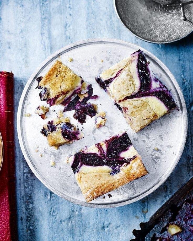 Blueberry cheesecake blondies recipe delicious magazine