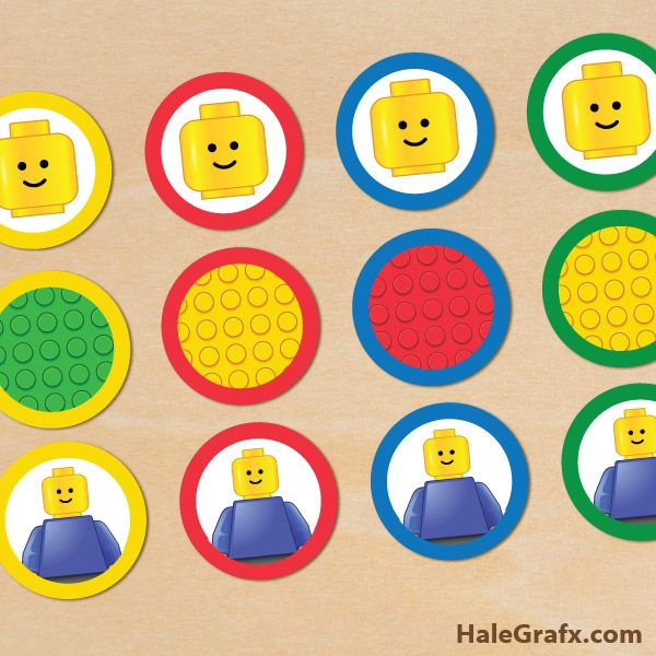 FREE Printable LEGO Building Blocks Cupcake Toppers